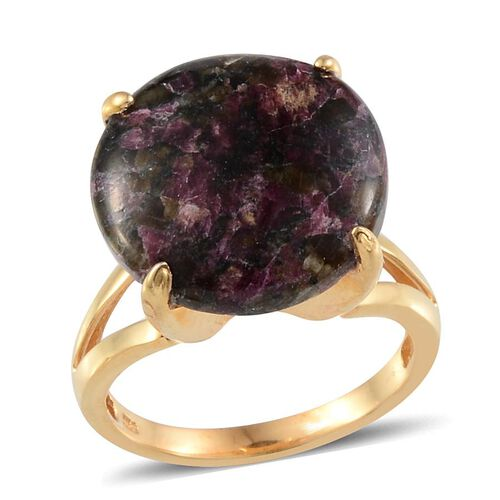 Natural Russian Eudialyte (Rnd) Solitaire Ring in 14K Gold Overlay Sterling Silver 11.500 Ct.
