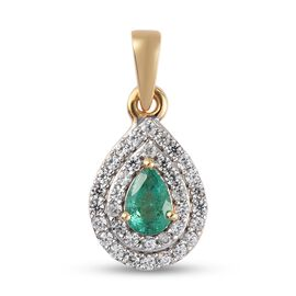 Emerald and Natural Cambodian Zircon Pendant in 14K Gold Overlay Sterling Silver 1.270 Ct.