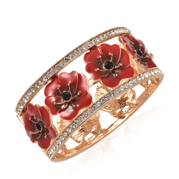 Black and White Austrian Crystal Poppy Flower Bangle in Gold Tone 7.5 Inch