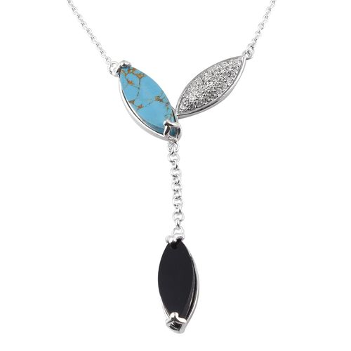 GP - Boi Ploi Black Spinel, Mojave Blue Turquoise and Multi Gemstone Necklace (Size 18) in Platinum