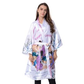 White and Multi Colour Japanese Style Painting Pattern Kimono with Waist Belt(Size 105x72 Cm)