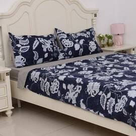 KING Size 4 Pcs. Printed Set Duvet Cover (Size 225x220 Cm), Fitted Sheet (Size 200x150 Cm) and 2 Pil