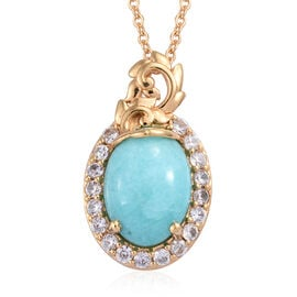 Natural Peruvian Amazonite (Ovl 14x10 mm), Natural Cambodian Zircon Pendant With Chain (Size 18) in