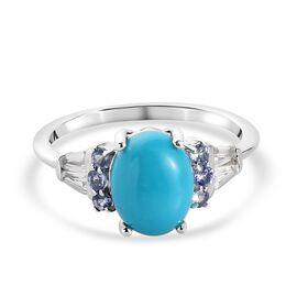 Arizona Sleeping Beauty Turquoise, Tanzanite and Natural Cambodian Zircon Ring in Platinum Overlay S