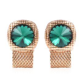 WILLIAM HUNT Simulated Emerald (Rnd) Cufflink in Gold Tone