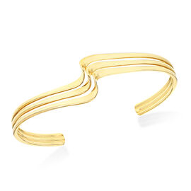 3 Row Twisted Cuff Bangle in Yellow Gold Plated Sterling Silver 18.70 Grams 7.25 Inch