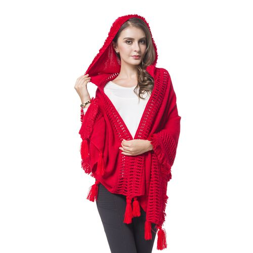 Red Colour Knitted Hoodie Kimono with Tassels (Size 190X60 Cm)