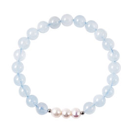 Aquamarine and White Freshwater Pearl Stretchable Bracelet (Size 6.5) in Rhodium Overlay Sterling Si