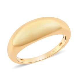 14K Yellow Gold Overlay Sterling Silver Chunky Band Ring