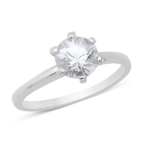 Tanzanian White Zircon Solitaire Ring in Rhodium Plated Sterling Silver