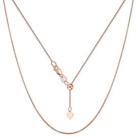 Adjustable Slider Chain in Rose Gold Plated Sterling Silver 24 Inch