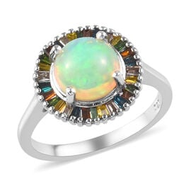 1.75 Ct Ethiopian Welo Opal and Multi Colour Diamond Halo Ring in Platinum Plated Silver