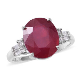 African Ruby (Ovl 12x10mm, 7.15 Ct), Natural Cambodian White Zircon Ring in Rhodium Overlay Sterling