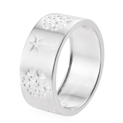 Sterling Silver Star Engraved Band Ring, Silver wt. 5.57 Gms.