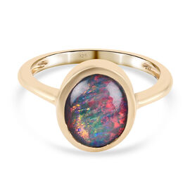One Time Deal- Australian Boulder Opal Ring in 14K Gold Overlay Sterling Silver 2.00 Ct.