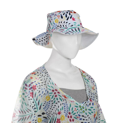 100% Cotton Off White, Red and Multi Colour Flower and Leaves Pattern Apparel (Size Free), Cap (Size 36x34 Cm) and Watermelon Pattern Jute Handbag (Size 48x40x34x15 Cm)