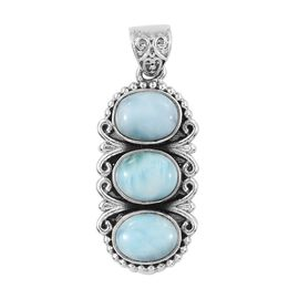 6.11 Ct Larimar Trilogy Pendant in Sterling Silver 4.91 Grams