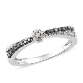 Blue and White Diamond Ring in Platinum Overlay Sterling Silver 0.15 Ct.