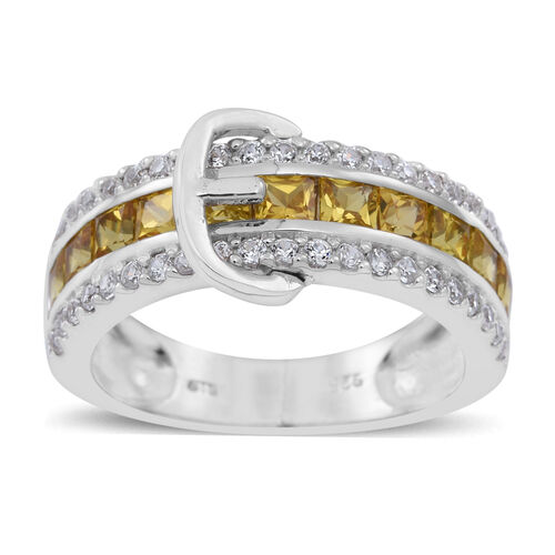 Yellow Sapphire (Sqr), Natural Cambodian Zircon Buckle Ring in Rhodium Plated Sterling Silver 3.250 Ct.