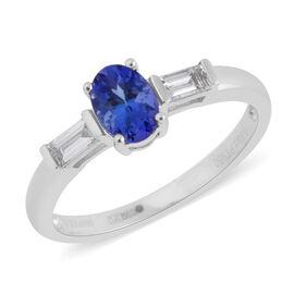RHAPSODY 950 Platinum AAAA Tanzanite (Ovl), Diamond (VS E-F) Ring 1.100 Ct. Platinum wt 3.68 Gms