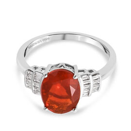 RHAPSODY 950 Platinum AAAA Jalisco Fire Opal and Diamond (VS/E-F) Ring 2.00 Ct.