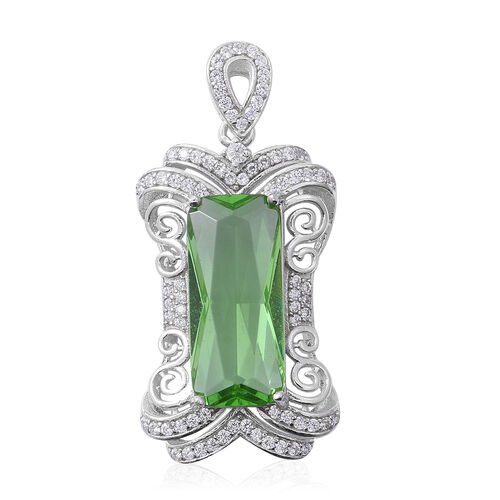 ELANZA Simulated Emerald (Bgt), Simulated Diamond Pendant in Rhodium Overlay Sterling Silver