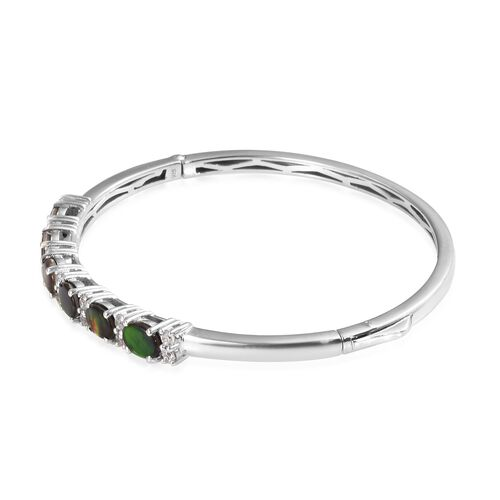 Canadian Ammolite (Ovl 7x5 mm), Natural Cambodian Zircon Bangle (Size 7.5) in Platinum Overlay Sterling Silver, Silver wt 14.80 Gms