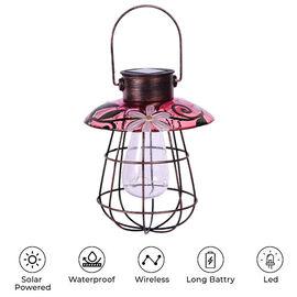Garden Decorative Vintage Solar Light Lantern (Size:17x17x80Cm) - Pink and White
