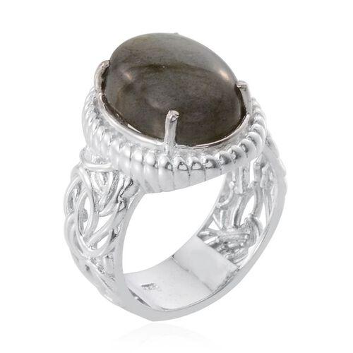 Labradorite (Ovl) Ring in Platinum Overlay Sterling Silver 10.000 Ct.