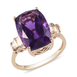 9K Yellow Gold AAA Amethyst and Diamond Ring 6.16 Ct.