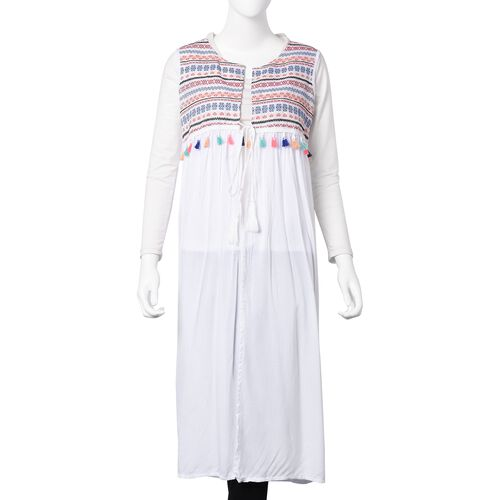 White, Blue, Orange and Multi Colour Embroidered Ethnic Pattern Vest (Size 110x45 Cm)
