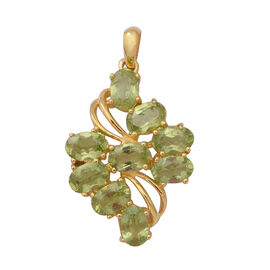 Hebei Peridot (Ovl) Pendant in Yellow Gold Overlay Sterling Silver 4.41 Ct.