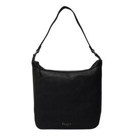 ASSOTS LONDON Bianca Genuine Pebble Grain Leather Slouchy Hobo Bag - Black