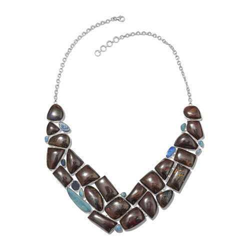 One Off A Kind- Boulder Opal Rock and Opal Double Necklace (Size 18 with 1 inch Extender) in Sterling Silver 571.400 Ct. Silver wt. 67.82 Gms.