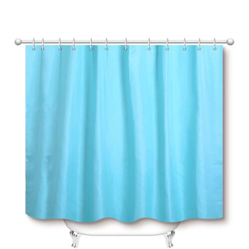 Turquoise Colour Waterproof Shower Curtain with 12 Hooks (180x180cm)