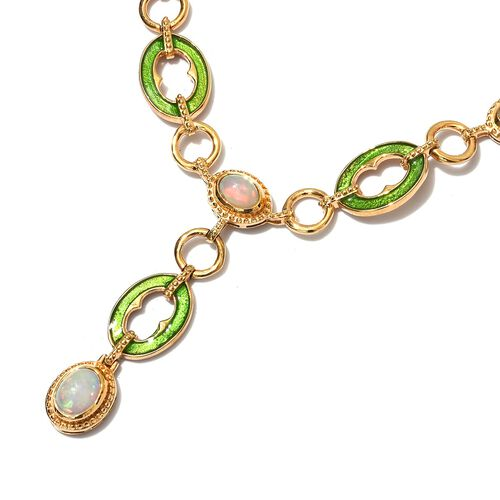 Designer inspired-Ethiopian Welo Opal Necklace (Size 18) in 14K Gold Overlay Sterling Silver wt. 27.