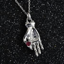 Sundays Child - African Ruby Hand Holding Pendant With Chain in Platinum Overlay Sterling Silver