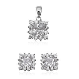 2 Piece Set ELANZA Simulated Diamond Halo Earrings and Pendant in Sterling Silver 4.4 Grams