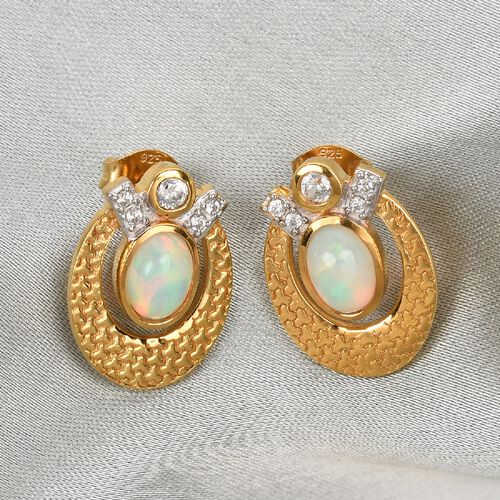 Ethiopian Welo Opal and Natural Cambodian Zircon Earrings in 14K Gold Overlay Sterling Silver 1.35 Ct.