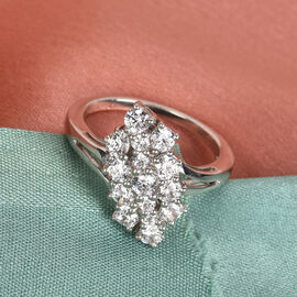 J Francis Platinum Overlay Sterling Silver Ring Made with SWAROVSKI ZIRCONIA 2.59 Ct.