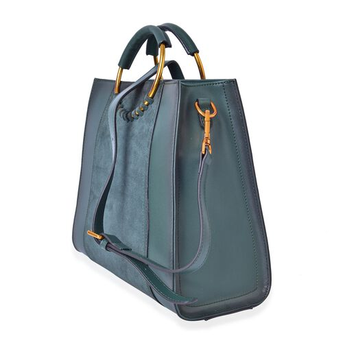 100% Genuine Leather Dark Green Colour Tote Bag with Round Metallic Handle and Adjustable and Removable Shoulder Strap (Size 30X25.5X12.5 Cm)