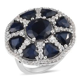 11.53 Ct AAA Kanchanaburi Blue Sapphire and Zircon Cocktail Cluster Ring in Platinum Plated Silver