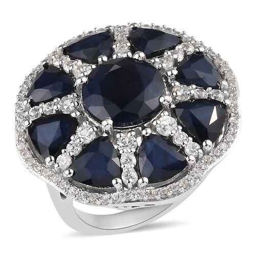 11.53 Ct AAA Blue Sapphire and Zircon Cluster Ring in Platinum Plated Silver