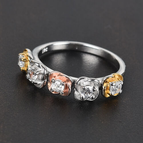 Natural Cambodian Zircon Floral Ring in Platinum, Yellow and Rose Gold Overlay Sterling Silver 0.50 Ct.