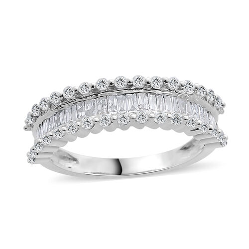 Designer Inspired- 9K White Gold SGL Certified Diamond (Rnd and Bgt) (I3/G-H) Ring 1.000 Ct.