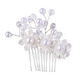 Simulated Pearl Hair Accessories in Silver Tone