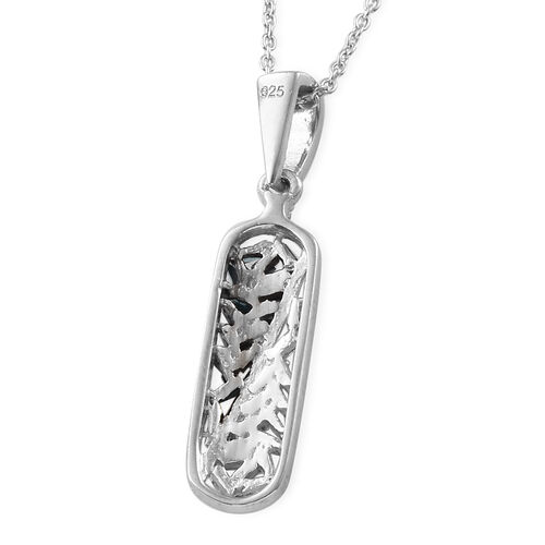Blue Diamond (Bgt), White Diamond Pendant with Chain (Size 20) in Platinum Overlay Sterling Silver 0.250 Ct