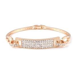 Designer Inspired-White Austrian Crystal (Rnd) Bracelet (Size 7.5) in Yellow Gold Plated