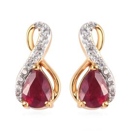 AA African Ruby and Natural Cambodian Zircon Earrings (with Push Back) in 14K Gold Overlay Sterling
