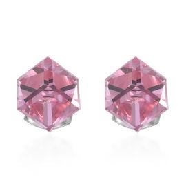 Crystal from Swarovski - Light Rose Crystal Platinum Overlay Sterling Silver Earring .